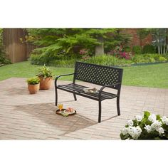 Outdoor Patio Garden Bench Park Yard Furniture Black Chair Metal Backyard for sale online Outdoor Garden Bench, Outdoor Decor, Metal Outdoor Bench, Outdoor Living, Black Garden, Thing 1, Back Patio, Patio Chairs, Office Chairs