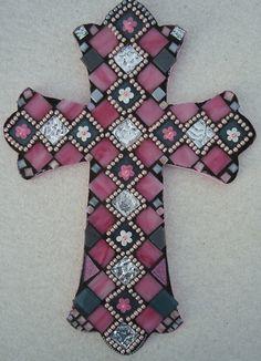 Mosaic Cross  Aubrey by BrokenBeautyMosaics on Etsy, $225.00