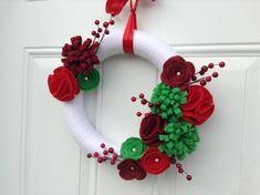 Corona di Natale corona di filato rosso bianco di AnitaRexDesigns