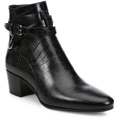Saint Laurent Blake Croc-Embossed Leather Block-Heel Booties ($1,040) ❤ liked on Polyvore featuring shoes, boots, ankle booties, apparel & accessories, nior, ankle strap boots, short boots, leather upper boots, slip on booties and block heel ankle boots