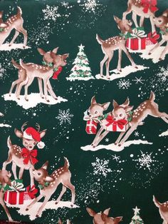 vintage reindeer Christmas wrapping paper