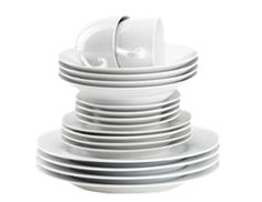 Features/Specifications Product code: Super white porcelain dinner set - rim-shaped Dishwasher safe Consists of: 4 Dinner plates 4 Side plates 4 Soup bowls 4 Tea cups 4 saucers Dishwasher safe & microwavable