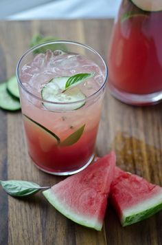 Watermelon Cucumber Cooler - watermelon, cucumber, lime juice (untested, sub or use in Phase 6), honey (agave untested), basil leaves