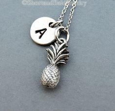 Pineapple necklace Pineapple charm necklace by ShortandBaldJewelry