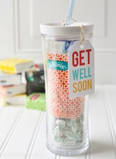 Whether your friends are suffering from a cold or those pesky seasonal allergies, this DIY Get Well Soon gift is perfect for anyone feeling under the weather! Use this printable to customize this gift idea.