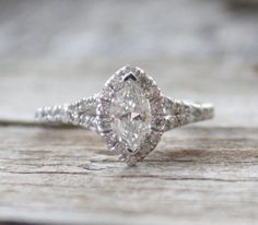 0.93 Ctw. Marquise Diamond Engagement Ring in 14K by Studio1040, $2890.00