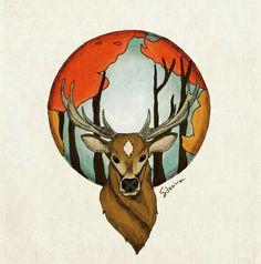 Em primeiro plano um cervo, ao fundo um pedaço de seu habitat. Desenho feito a mão livre e colorido digitalmente. #silveira04