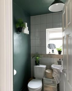 Simple green bathroom makeover on budget - forest green bathroom with a green ceiling - bathroom makeover - bathroom with plants