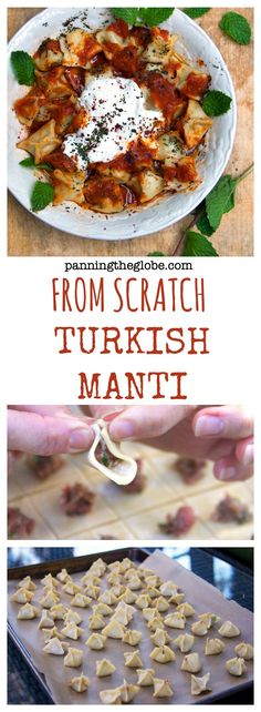 Pretty authentic and good recipe for Turkish Manti ( lamb filled mini dumplings with 3 sauces ). This is a very traditional dish that your host doesn´t fix for just anyone, cause it takes some time to prepare this.