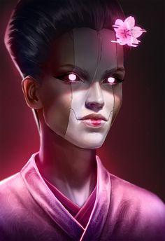 Cyberpunk Geisha by Michał Sowa Cyberpunk Games, Cyberpunk 2020, Cyberpunk Girl, Arte Cyberpunk, Cyberpunk Fashion, Shadowrun Rpg, Cyberpunk Aesthetic, Arte Horror, Dark Fantasy Art