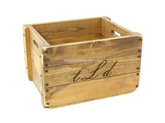 Monogrammed Wood Crate Personalized Wooden Box with Custom Pyrographic (Woodburned) Initials