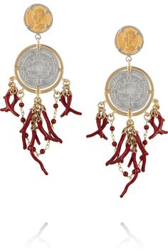 Dolce & Gabbana | Gold-plated coin and faux coral clip earrings | NET-A-PORTER.COM