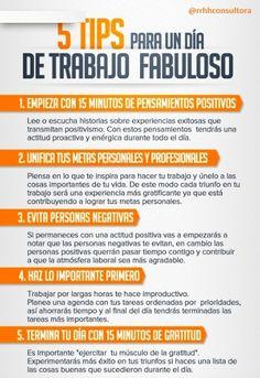 5 tips para un día de #trabajo fabuloso #hr #rrhh #positividad #empleo #productividad