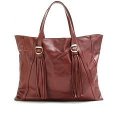 See by Chloé Leather Tote With Tasseled Trim ($698) ❤ liked on Polyvore