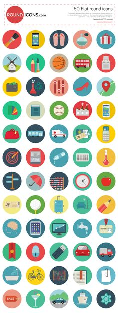 Everyone loves a good, clean and simple icon set. Today, we're honored to present to you a free set of 60 vector round icons. Icon Design, Web Design, Flat Design, Png Icons, Illustrator, Simple Icon, Social Media Icons, Flat Illustration, Graphic Design Inspiration