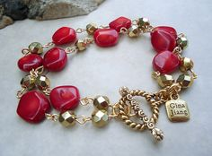 Red Coral Bracelet. Crystal. Toggle plated in 24k Gold