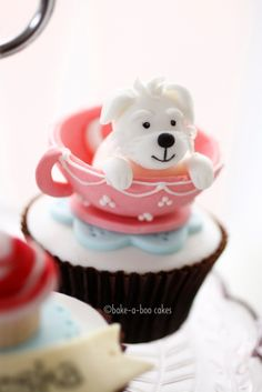 Gorgeous #Puppy in a teacup #Cupcake - We totally love and had to share! Great #CakeDecorating by bake-a-boo cakes