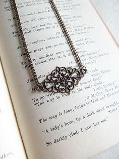 Diamond Filigree Necklace - Minimalist Pendant on Copper Chain - Layering Necklace by KatyaValera, $15.00