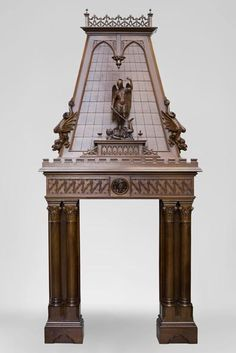 Beautiful antique Neo-Gothic style fireplace in sculpted walnut with hood, representing St Michael slaying the demon (Reference - Available at Gallery Marc Maison Stucco Fireplace, Fireplace Mantel, Architectural Antiques, Architectural Elements, St Michael, French Decor, Victorian Gothic, Walnut Wood, Middle Ages