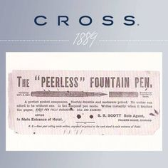Pinterest Pin - The Cross Pen Co. created its very first fountain pen in Providence, Rhode Island in 1889. It was called
