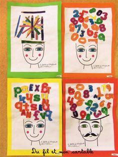 Du fil et mon cartable : A la manière du DADA de l'enfant Terrible : Têtes DADA Terrible