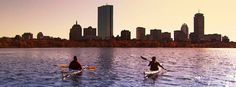 Anthony gets a kayak lesson on the Charles!