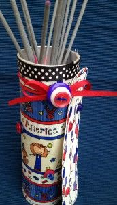 Cute idea - Cover a Pringles can with Laura Kelly's America The Beautiful fabric and use the can to hold the July 4th sparklers.