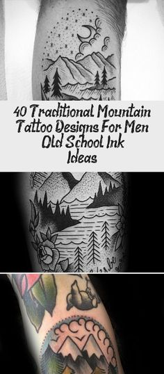 40 Traditional Mountain Tattoo Designs For Men – Old School Ink Ideas Mountain Tattoo Design, Mountain Designs, Old School Ink, Great Tattoos, Tattoo Designs Men, Framed Art, Art Pieces, Traditional, Thigh