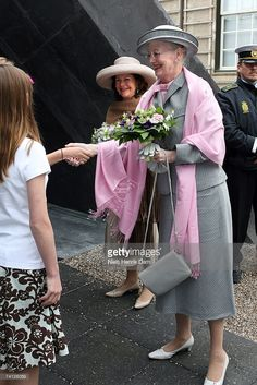 Queen Margrethe II of Denmark (front R) and Queen Silvia of Sweden (C) arrive arrives at the Ordrupgaard Museum in Charlottenlund on May 11, 2007 near Copenhagen, Sweden. King Carl XVI Gustaf of Sweden, Queen Silvia of Sweden and Princess Victoria of Sweden are paying a state visit to Denmark of which the main focus will be on the Oresund Conference, where discussions will be held around the possible integration of the labour market of both countries within this region.