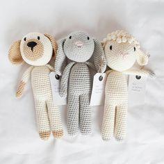 Best buddies 💕💕 Check em out in my shop now 👉link in bio 😊💖🐶🐰🐑 ▪ ▪ ▪ #tenalemontwelve #crochet #crochetnz #nzcrochet #crochetersofinstagram…