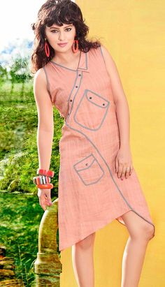 Buy Fashionable Beautiful Peach #CottonKurti  Product code: KKR-35747 Price: INR 1480 (Readymade size), Color: Peach Shop Online now: http://www.efello.co/Kurti_Fashionable-Beautiful-Peach-Cotton-Kurti_4877
