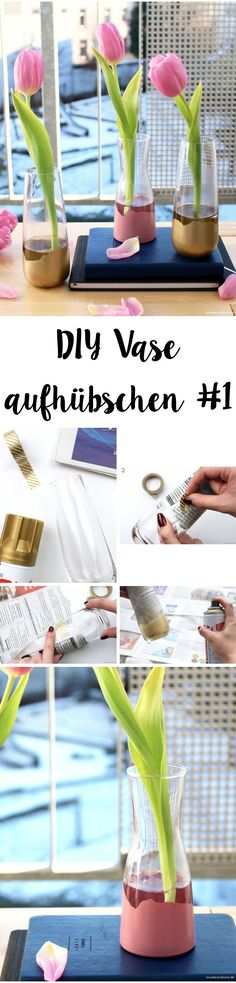 DIY spray painted Vase + using newspaper | DIY Vase aufhübschen #1 mit Farbspray + Zeitungspapier