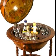 A globe with drinks inside