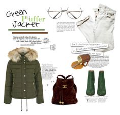 """""""Frio 😍"""" by railda-pereira ❤ liked on Polyvore featuring Maison Margiela, Chanel, GREEN, Boots, pants, nailedit and puffers"""