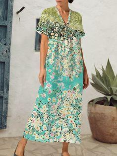 Chiffon Maxi Dress, Mesh Dress, Maxi Dresses, Short Sleeve Dresses, Floral Prints, V Neck, Casual, Clothing, Products