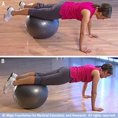 Core strengthening exercise ball workout
