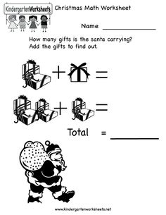 kindergarten christmas math worksheet printable - Holiday Worksheets For Kindergarten