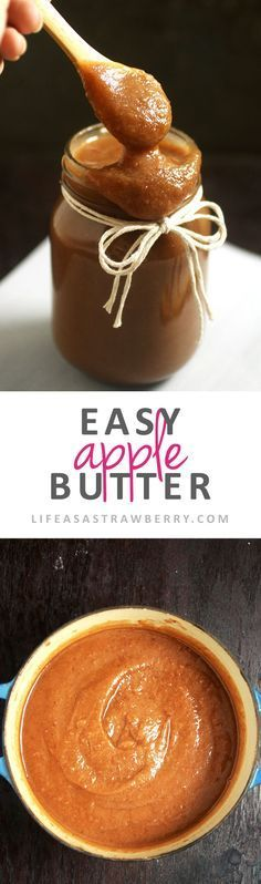 Easy Apple Butter - This simple stovetop apple butter recipe is quick, easy, and has NO processed sugar! Just fresh apples, cinnamon, and a bit of maple sugar make this apple butter rich and velvety. The perfect way to use up all of those fall apples. Vegetarian, Vegan.
