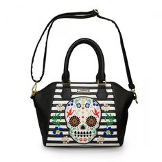 Loungefly Sugar Skull Stripes with Flowers Crossbody Bag ($55) ❤ liked on Polyvore featuring bags, handbags, shoulder bags, skull shoulder bag, loungefly purses, stripe purse, handbag purse and flower handbags