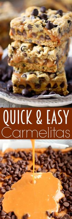 These Quick and Easy Carmelitas use only four ingredients! A truly decadent treat, the ooey, gooey caramel center of these amazing bars is impossible to resist! An easy dessert recipe ANYONE can make!   MomOnTimeout.com   #recipe #easy