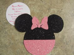 Minnie mouse invite idea like the daisy flower look with the pocket minnie mouse invitations glitter luv this solutioingenieria Choice Image