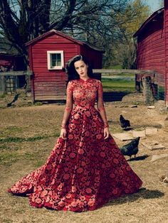 Katy Perry Tells All: The Real Deal Behind The Men In Her Life #Refinery29.  Loving this dress.  I think it's Valentino--Adele had a similar pattern on her Grammy dress this year and I'm pretty sure it was Valentino.