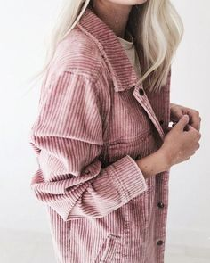cord jacket in pink   well dressed for autumn