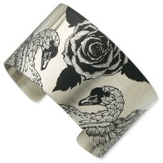 Stainless Steel Swan Lovers Brushed Cuff Bangle Jewelry Adviser Bangle Bracelets. $44.62. Save 60% Off!
