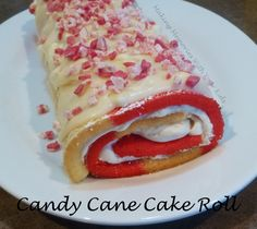 Christmas Candy Cane Cake Roll