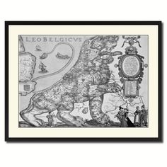 Leo Belgicvs Vintage B&W Map Canvas Print, Picture Frame Home Decor Wall Art Gift Ideas