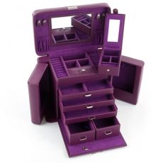 Mele & Co 'Llana' Large Purple Jewellery Box with Traveler