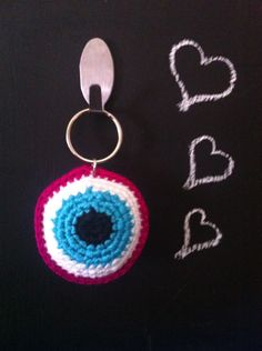 Evil eye, crochet keychain, keyring, blue eye, πλεκτό μπρελοκ, μάτι