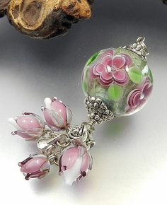 GLASSACTCC~Pink Flower Ball Pendant~Handmade Lampworked Glass Beads Jewelry SRA