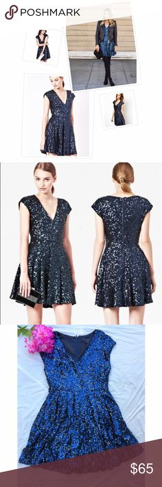 "French Connection ""Spectacular Sparkle"" dress 10 Beautiful party dress that perfect for an evening wedding, holiday party or special event! Excellent pre-loved condition with no sequins missing that I can note. Completely lined and has rear zipper. Approx 34"" bust, 33"" in length. ✅offers❌trades/PPsave 20% off 2+ French Connection Dresses"